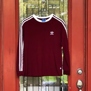 Adidas Long Sleeved 3 Stripes Tee - Size L